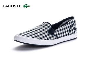 LACOSTE/法国鳄鱼女鞋 一脚套格子休闲帆布鞋 LANCELLE