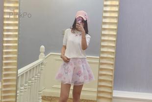 the pinkpo独家定制欧根纱印花短裙夏季半身裙短裙甜美粉色短裙