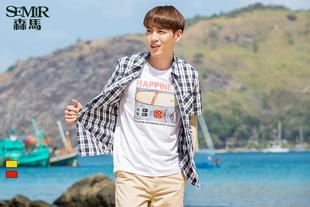 森马短袖衬衫 2016夏装新款 男士方领格子直筒男装衬衣韩版