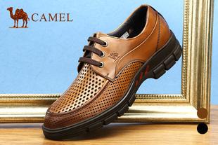 Camel骆驼男鞋 夏季系带透气男士日常休闲鞋镂空皮鞋