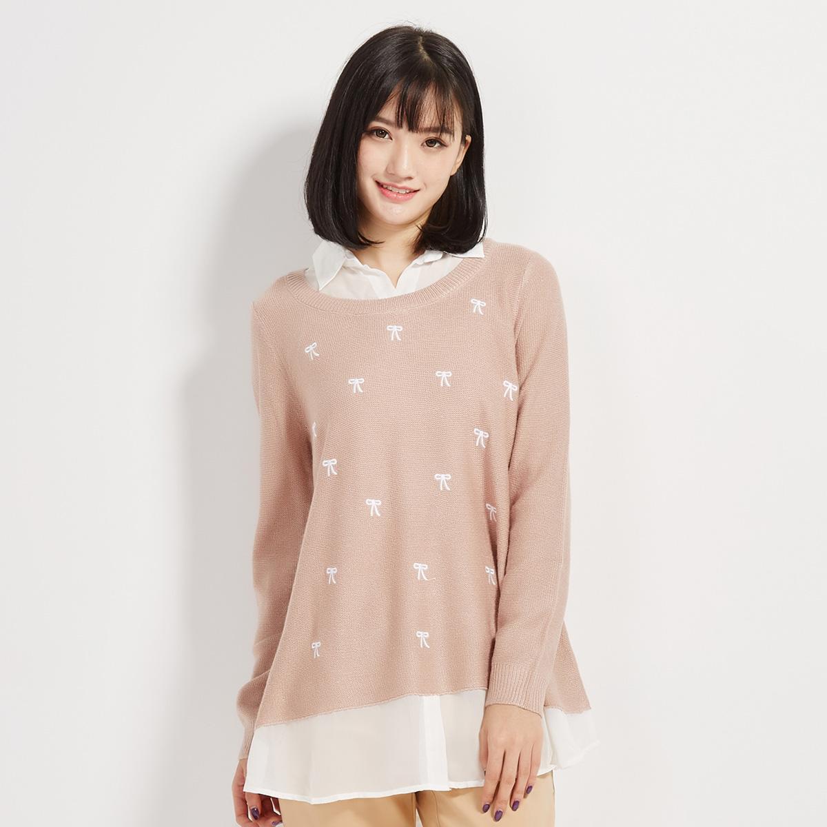 森马 清新蝴蝶结提花假两件针织衫