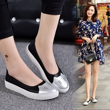 Leather Korean version small white shoes mother shoes flat heel hollow shoes woman